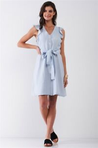 French Riviera Light Blue Striped Sleeveless Ruffle Floral Lace Trim Detail Self $28.98
