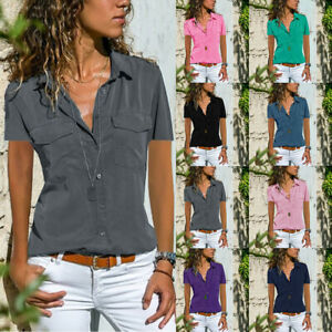 â�Summer Womens Short Sleeve V Neck T Shirt Button Solid Blouse Casual Pocket Top $13.19