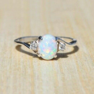 925 Silver Oval White Fire Opal Ring for Women Wedding Party Jewelry Size 6 10 C $1.24