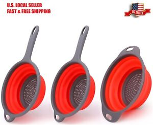 3pc Collapsible Colander Heat Resistant Foldable Strainer for Rinsing Draining