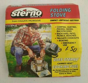 Vintage Sterno Brand Folding Stove Outdoor Camping Compact Lightweight