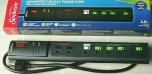 Sunbeam Advanced 7 Outlet Power Strip w Surge Protector quot;FAST SHIPPING quot; $7.77
