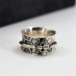Honey Bee Spinner Ring Solid 925 Sterling Silver Wide Band Handmade Jewelry