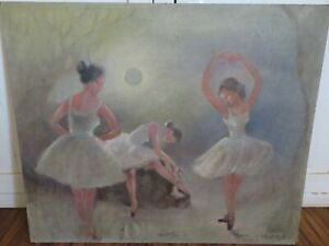 VINTAGE Painting on Board Ballerinas Dancing Under the Moon Soft Colors $299.99