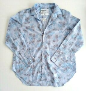 Frank Eileen Button Down Shirt Abstract Blouse Light Blue Rose Print Size XL $39.97