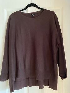 Eileen Fisher Soft Merino Wool Alpaca Sweater Medium Brown Asymmetrical $27.50