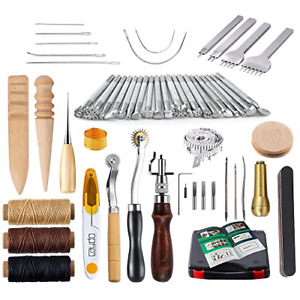 Caydo 59 Pieces Leather Working Tools Kit with Instructions for Hand Sewing Set $56.74