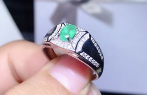 Natural 1 Ct Colombia Emerald Sterling Silver 925 Handmade Women Engagement Ring $180.18