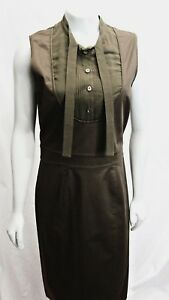 Gucci Olive Army Green Dress Sleeveless Knee Length Cotton 44 10 $499.99