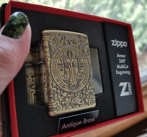 Zippo 29719 Armor St Benedict Constantine Antique Brass NEW in box Lighter $119.00