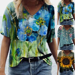 Plus Size Womens V Neck Short Sleeve Blouse Casual Baggy T Shirt Tunic Tops Tees $13.58