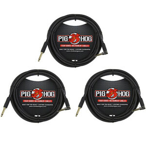 Pig Hog PC H10BKR 1 4quot; Right Angle Black Woven Instrument Cable 10 Feet 3 Pack $34.95