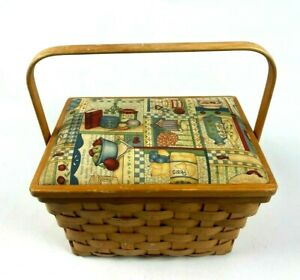 Vintage Large Sewing Basket Rectangle Cushioned Top w Lid and Handle 13quot; x 8quot; $27.55