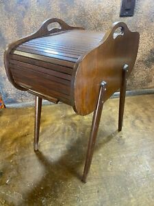 Vintage Mid Century Danish Roll Top Wood Sewing Storage Box MCM Accent Table $349.99