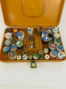 Vintage Wilson Wil Hold Plastic Thread and Bobbin Spool Case Sewing Box Gold $19.99