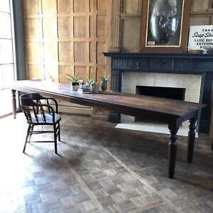 12 Foot Antique Table Rustic Farmhouse Table Wood Factory Work Table $4695.00
