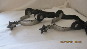 Vintage Spurs North and Judd 5 Pt Star Rowel Anchor Mark with leather straps