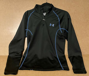Under Armor Cold Gear Quarter Zip Compression Shirt Size Small Black Blue Fitted $23.79