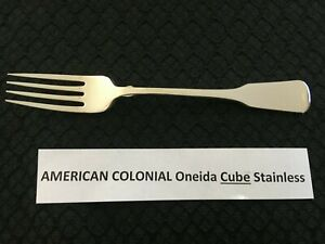 Oneida American Colonial Cube Stainless Steel 7 1 4 Dinner Fork Free Shipping