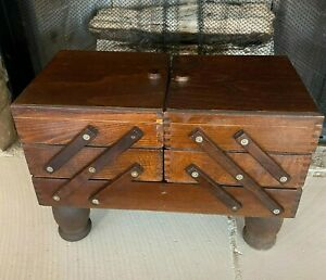 Large Vintage Sewing Box Accordion Crafts Standing Wood Wooden Dove Tail $64.35