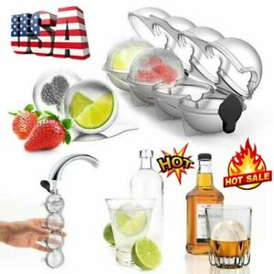 Round Ice Cube Ball Maker Tray Silicone Sphere Mold Bar Whiskey Cocktails Big AZ