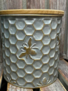 Embossed Metal And Wood Silver Honey Comb Bee Hive Bumble Bee Canister