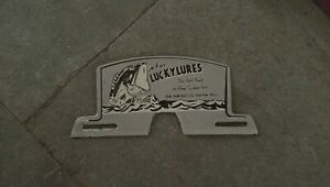 Porcelain Lucky Lures Enamel Sign Size 8 x 4 inches