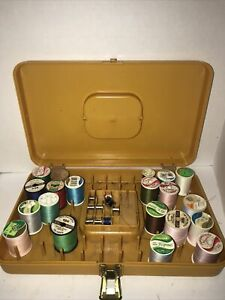 Vintage Wilson Gold Sewing Case Thread amp; Bobbin Holder w Spools USA $18.00