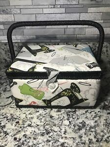 Large Sewing Basket Classic Collapsible Handle Vintage Singer Print $20.00