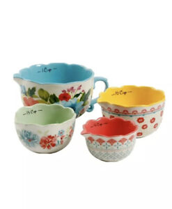 The Pioneer Woman Breezy Blossom Stackable 4 Piece Measuring Bowl Set New