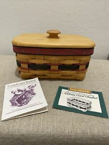 1996 Father's Day Address Card Basket Longaberger With Lid amp; Protector 8 x 6 x 4 $30.00
