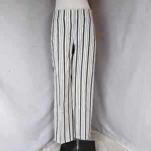 Ann Taylor Loft straight ankle cropped striped pants Womens size 4 petite Career $20.00