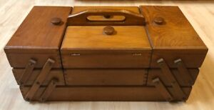 Vintage Wooden Accordian Style Fold Out Expandable Sewing Box $49.00