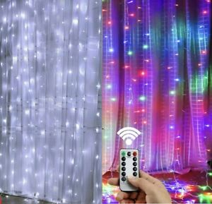 300LED 10ft Curtain Fairy Hanging String Lights Wedding Party Wall Decor Lamp US