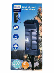 Philips Timer Outdoor Stake 6 Grounded Outlets Digital Timer