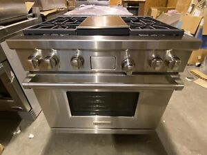 WOLF DF364 G 36 DUAL FUEL RANGE 4 BURNERS W GRIDDLE LP