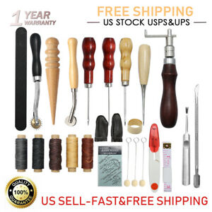 32x Leather Sewing Tools Kit Craft Hand Working Set Sewing Groover Beveler Punch $20.99