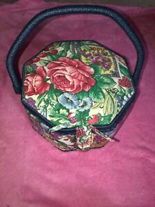 Sewing Box Basket Fabric Wicker Handle Octagon Shape $16.00