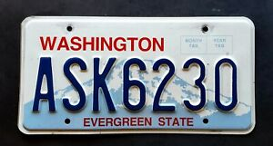 Washington EVERGREEN STATE MOUNT RAINIER WA License Plate ASK 6230