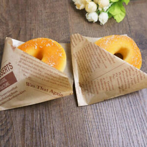 English Printed Food Cake Sandwich Donuts Hand Bag Bread Oil Proof Paper Bags