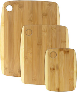 3 Piece Two Tone Bamboo Serving and Cutting Board Set