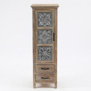 Metal and Wood Tall Tower Cabinet