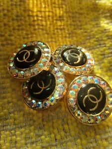 Four STAMPED VINTAGE CHANEL BUTTONS LOT OF 4 LOGO CC CRYSTALS 20 MM $99.00