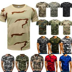 Mens Combat Military Short Sleeve Camouflage T Shirt Crew Neck Blouse Muscle Tee