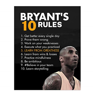 Kobe Bryant Quotes Bryants Ten Rules 8 x 10 Motivational Basketball Poster $16.03
