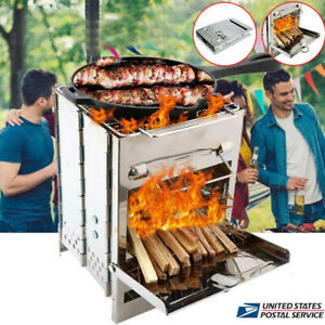 Portable Wood Burning Folding Camping Stove Stainless Steel BBQ Barbecue Grill