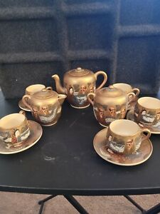 VINTAGE JAPANESE SATSUMA MORIAGE TEA SET immortals