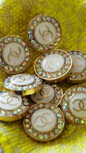 STAMPED VINTAGE CHANEL BUTTONS set of 12 LOGO CC CRYSTALS 20 MM $256.00