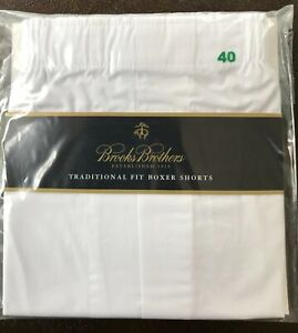 NEW Brooks Brothers Traditional Fit Boxer Shorts Size 40 L Cotton White $20.00