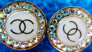 PAIR STAMPED VINTAGE CHANEL BUTTONS LOT OF 2 LOGO CC CRYSTALS 20 MM $49.50